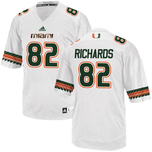 Men's Ahmmon Richards Miami Hurricanes Game White adidas Jersey