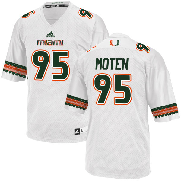 Men's Anthony Moten Miami Hurricanes Replica White adidas Jersey