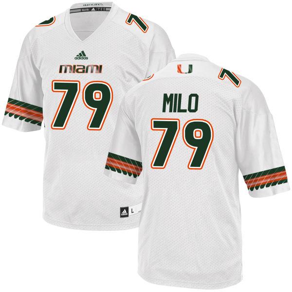 Men's Bar Milo Miami Hurricanes Replica White adidas Jersey
