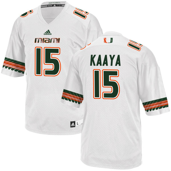 Men's Brad Kaaya Miami Hurricanes Replica White adidas Jersey