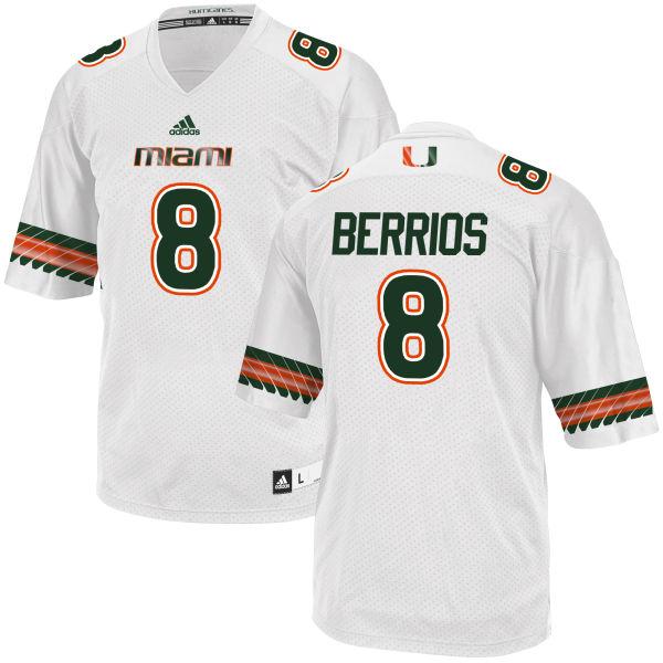 Men's Braxton Berrios Miami Hurricanes Game White adidas Jersey