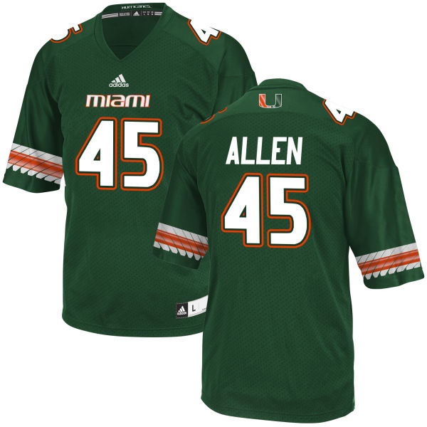Men's Chad Allen Miami Hurricanes Authentic Green adidas Jersey