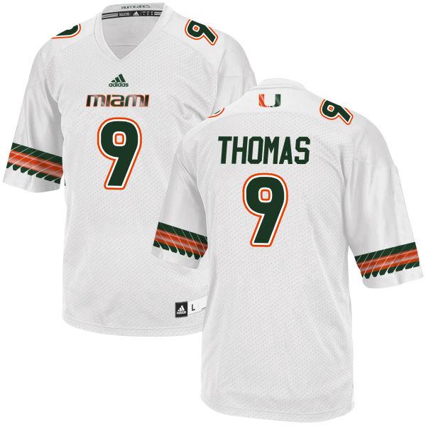 Men's Chad Thomas Miami Hurricanes Replica White adidas Jersey
