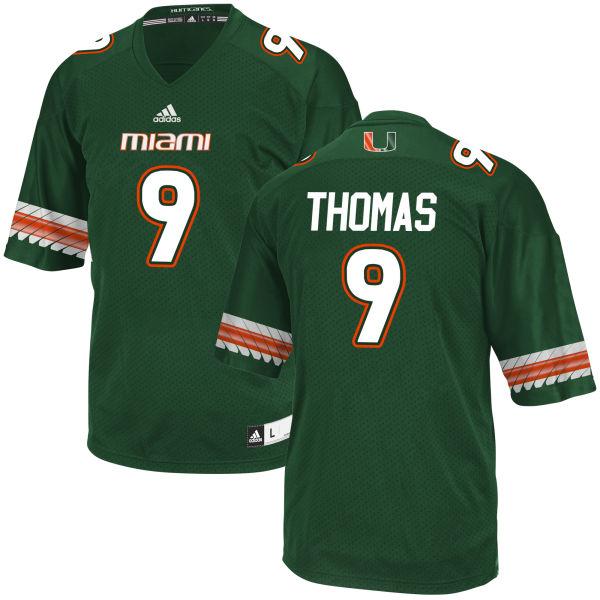 Men's Chad Thomas Miami Hurricanes Game Green adidas Jersey