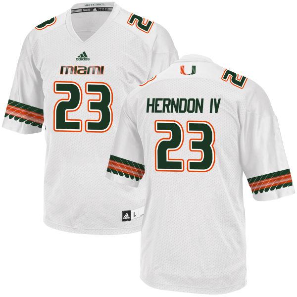 Men's Christopher Herndon IV Miami Hurricanes Replica White adidas Jersey