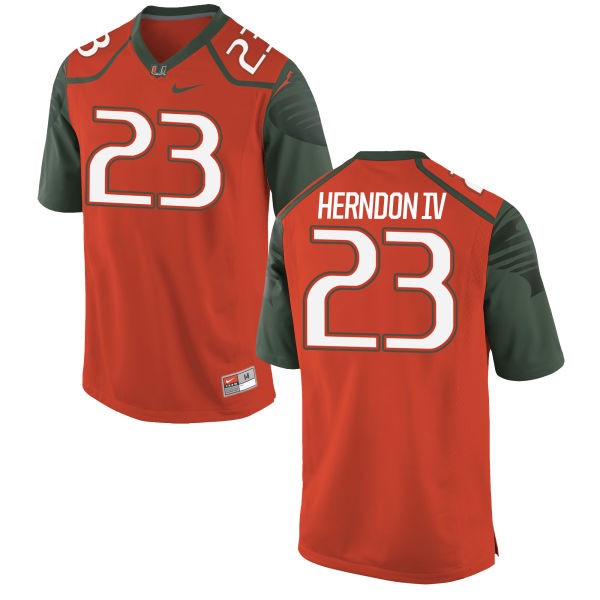 Men's Nike Christopher Herndon IV Miami Hurricanes Authentic Orange Football Jersey