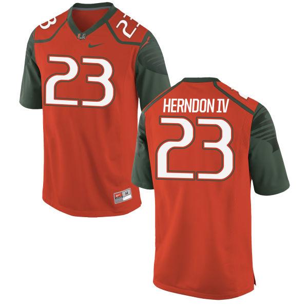 Men's Nike Christopher Herndon IV Miami Hurricanes Game Orange Football Jersey