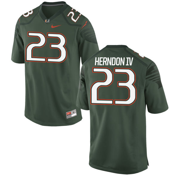 Men's Nike Christopher Herndon IV Miami Hurricanes Game Green Alternate Jersey