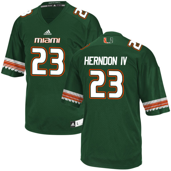 Men's Christopher Herndon IV Miami Hurricanes Game Green adidas Jersey
