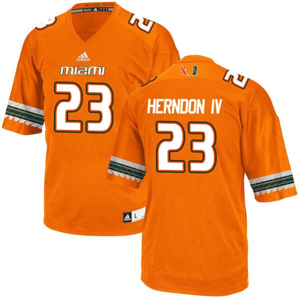Men's Christopher Herndon IV Miami Hurricanes Game Orange adidas Jersey