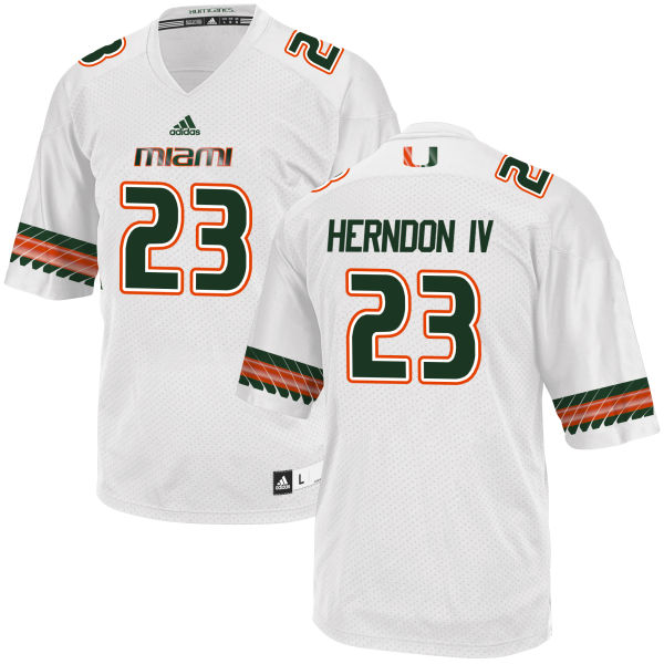 Men's Christopher Herndon IV Miami Hurricanes Game White adidas Jersey