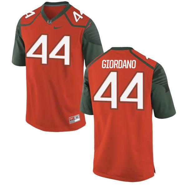 Men's Nike Cory Giordano Miami Hurricanes Game Orange Football Jersey