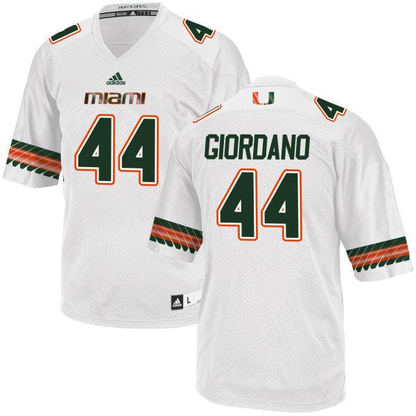 Men's Cory Giordano Miami Hurricanes Game White adidas Jersey