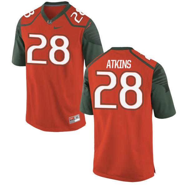Men's Nike Crispian Atkins Miami Hurricanes Authentic Orange Football Jersey