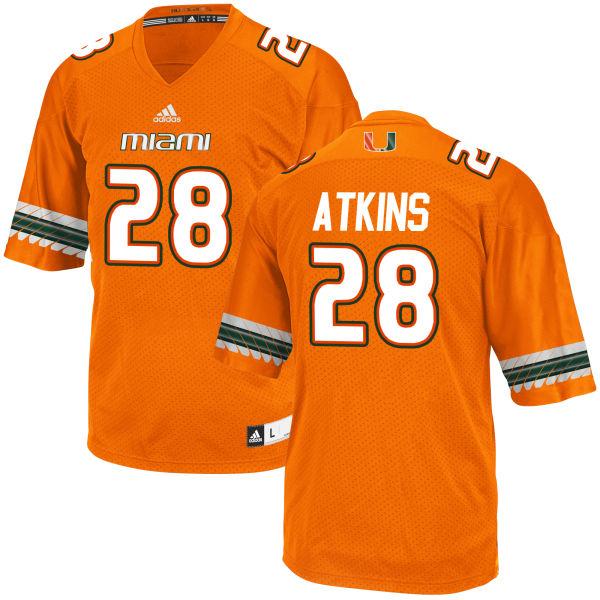 Men's Crispian Atkins Miami Hurricanes Game Orange adidas Jersey