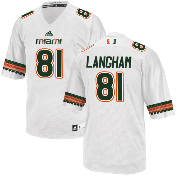Men's Darrell Langham Miami Hurricanes Replica White adidas Jersey