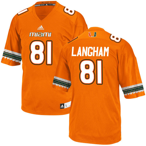 Men's Darrell Langham Miami Hurricanes Game Orange adidas Jersey