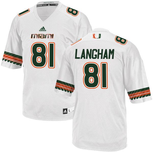 Men's Darrell Langham Miami Hurricanes Limited White adidas Jersey