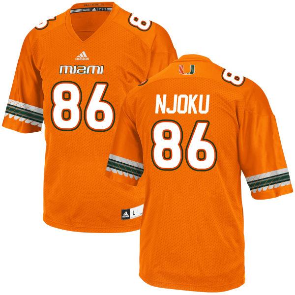 new arrival 715ad 62aff Men's David Njoku Miami Hurricanes Replica Orange adidas Jersey
