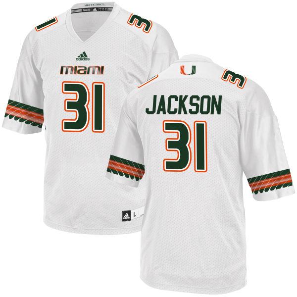 Men's Demetrius Jackson Miami Hurricanes Replica White adidas Jersey