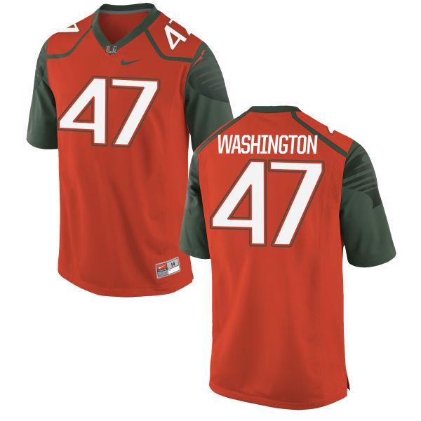 Men's Nike Dewayne Washington II Miami Hurricanes Replica Orange Football Jersey