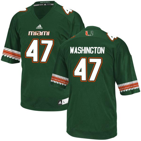 Men's Dewayne Washington II Miami Hurricanes Replica Green adidas Jersey