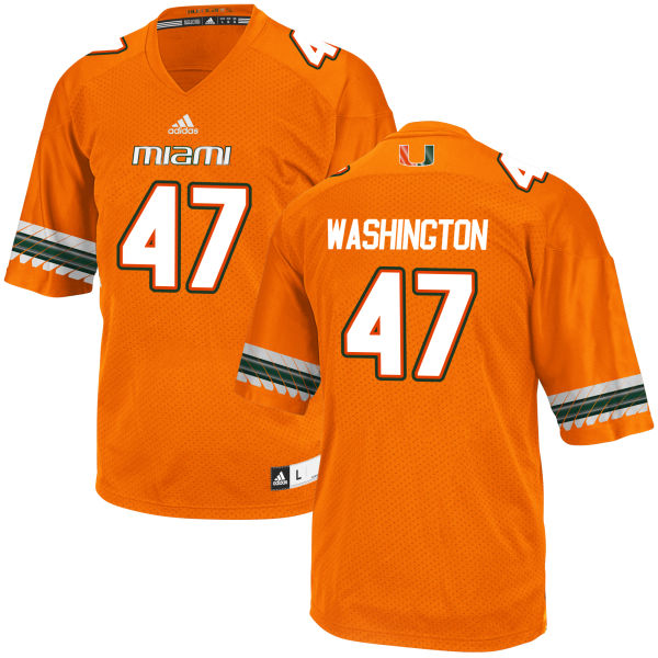 Men's Dewayne Washington II Miami Hurricanes Replica Orange adidas Jersey