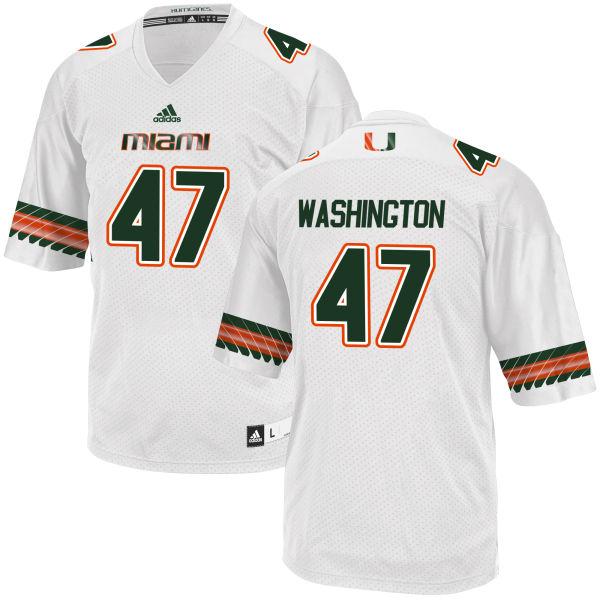 Men's Dewayne Washington II Miami Hurricanes Replica White adidas Jersey