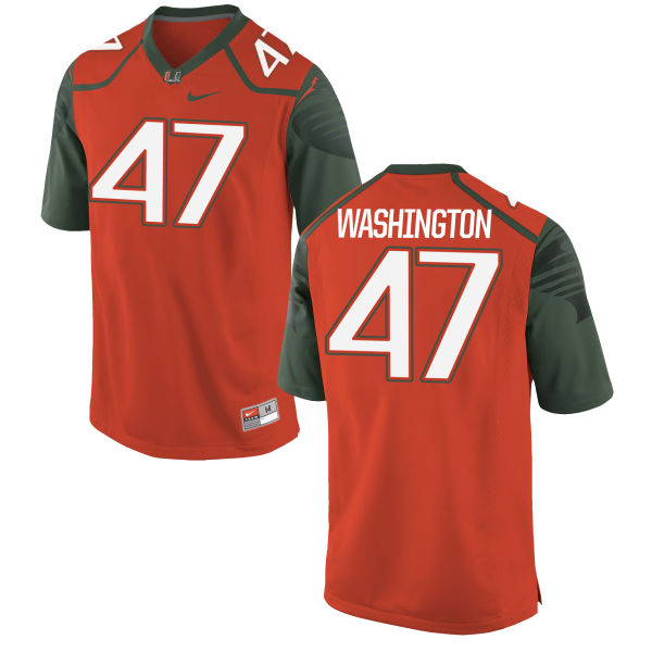 Youth Nike Dewayne Washington II Miami Hurricanes Replica Orange Football Jersey