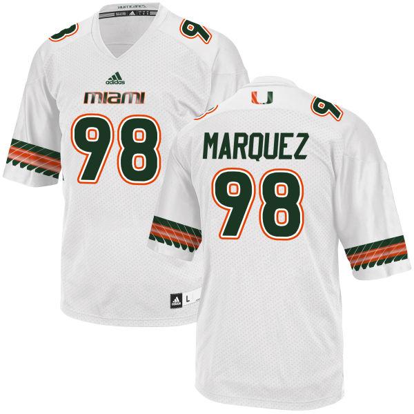 Men's Diego Marquez Miami Hurricanes Replica White adidas Jersey