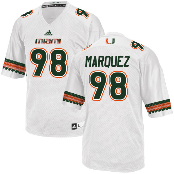 Men's Diego Marquez Miami Hurricanes Limited White adidas Jersey