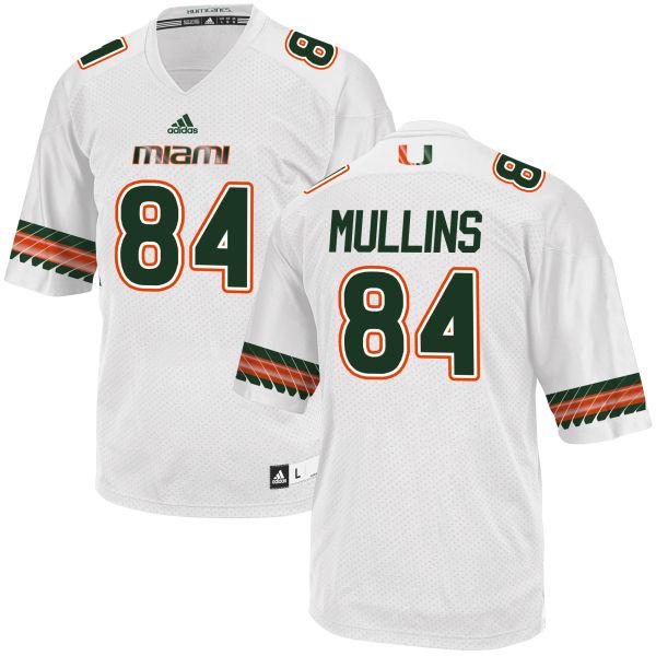 Men's Dionte Mullins Miami Hurricanes Replica White adidas Jersey