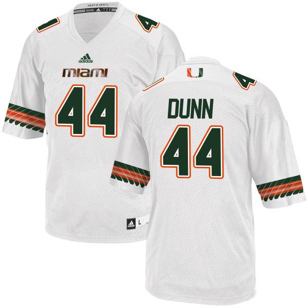 Men's Eddie Dunn Miami Hurricanes Replica White adidas Jersey