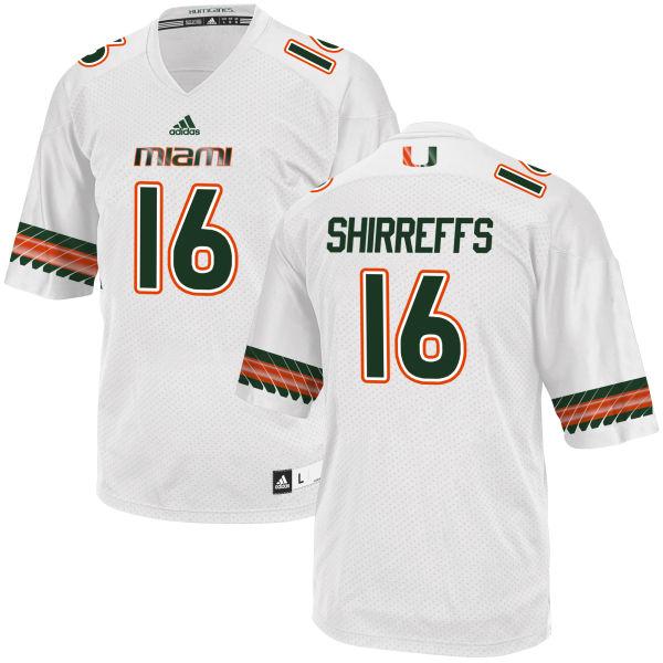 Men's Evan Shirreffs Miami Hurricanes Replica White adidas Jersey