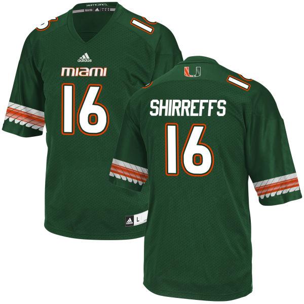 Men's Evan Shirreffs Miami Hurricanes Game Green adidas Jersey