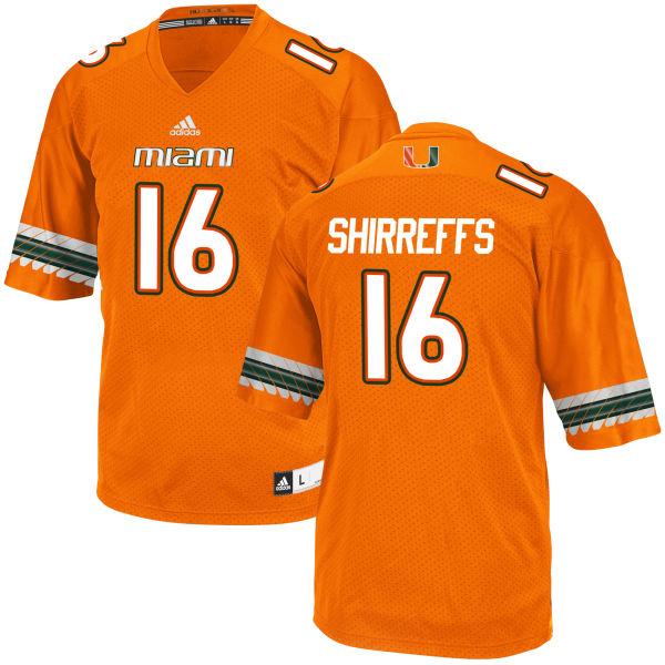 Men's Evan Shirreffs Miami Hurricanes Game Orange adidas Jersey