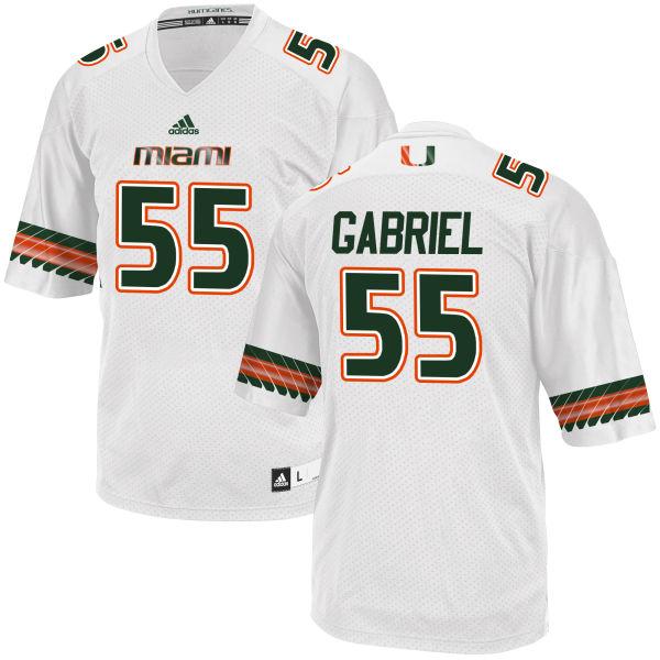 Men's Frank Gabriel Miami Hurricanes Replica White adidas Jersey