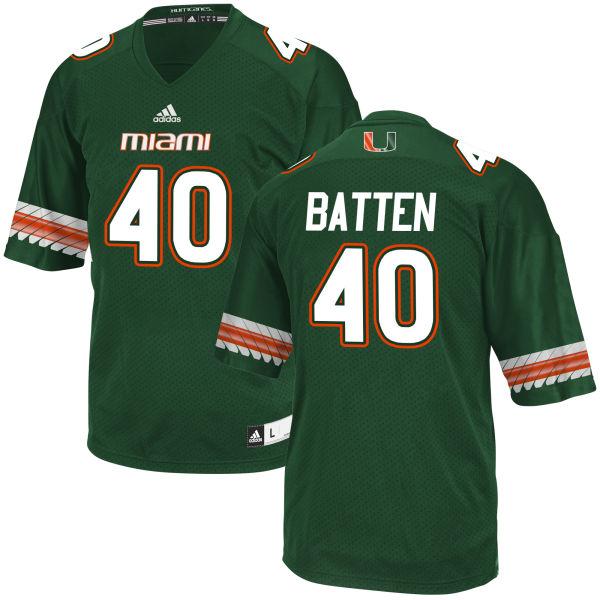 Men's Gage Batten Miami Hurricanes Replica Green adidas Jersey