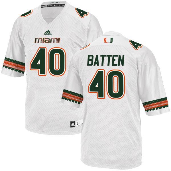 Men's Gage Batten Miami Hurricanes Replica White adidas Jersey