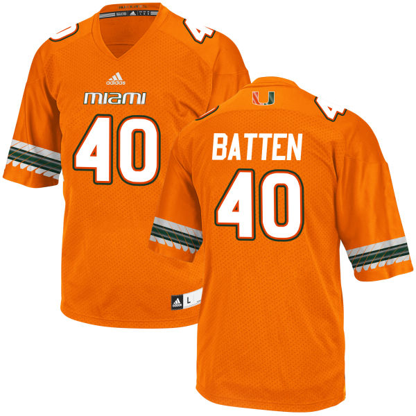 Men's Gage Batten Miami Hurricanes Game Orange adidas Jersey