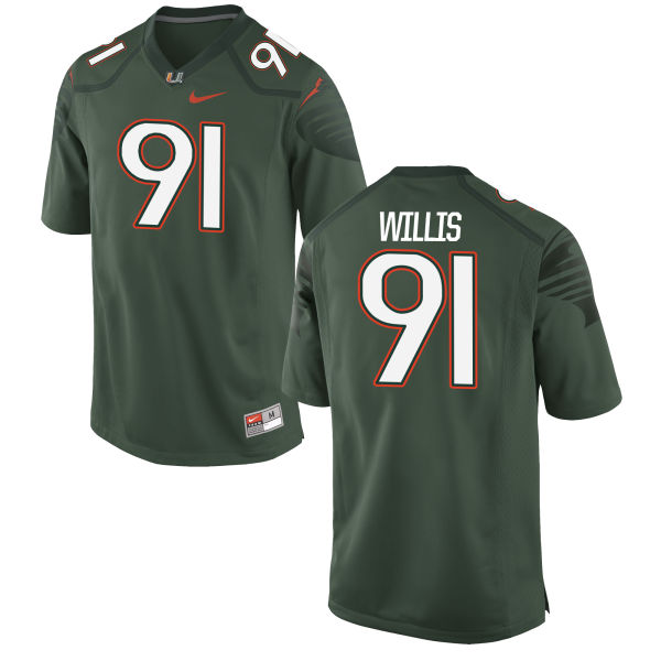 Men's Nike Gerald Willis Miami Hurricanes Limited Green Alternate Jersey