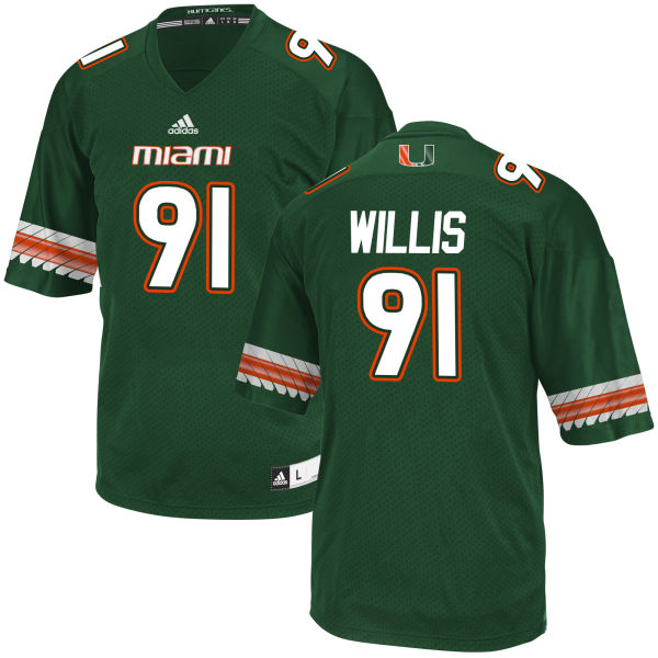 Men's Gerald Willis Miami Hurricanes Limited Green adidas Jersey