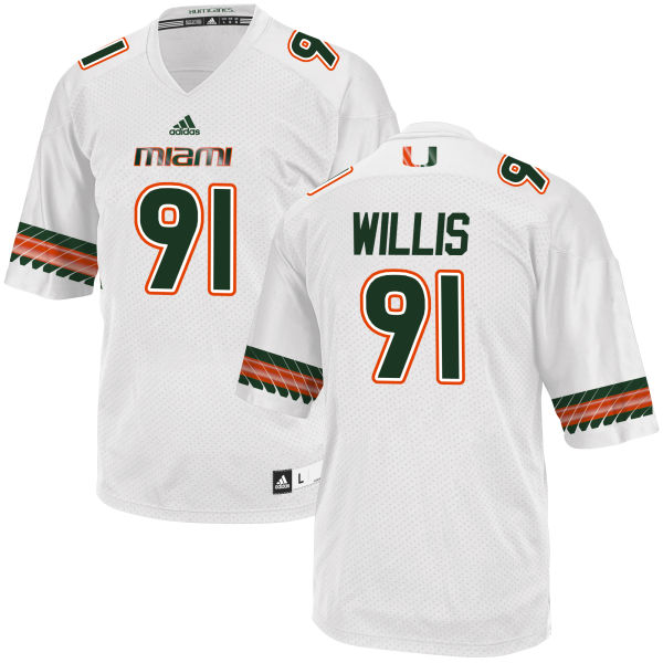 Men's Gerald Willis Miami Hurricanes Limited White adidas Jersey