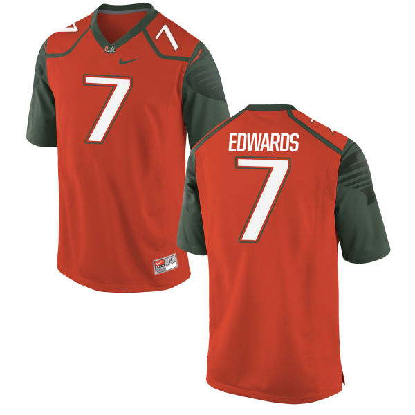 Men's Nike Gus Edwards Miami Hurricanes Replica Orange Football Jersey