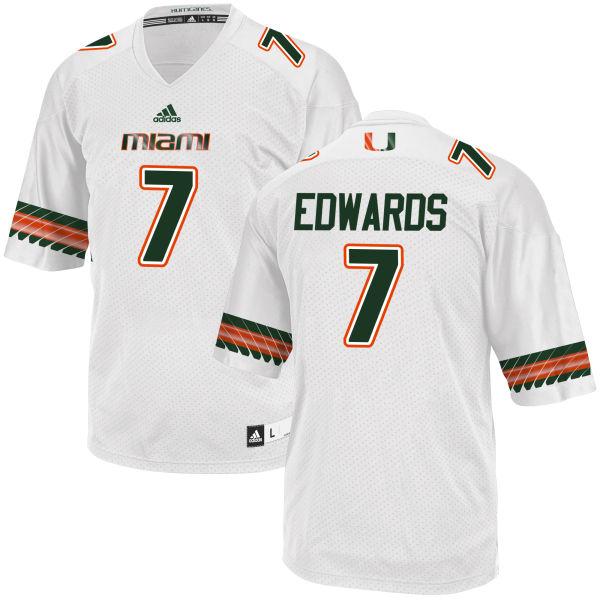 Men's Gus Edwards Miami Hurricanes Replica White adidas Jersey