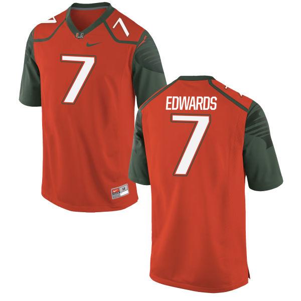 Men's Nike Gus Edwards Miami Hurricanes Authentic Orange Football Jersey