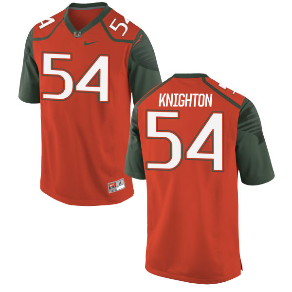 Men's Nike Hunter Knighton Miami Hurricanes Replica Orange Football Jersey