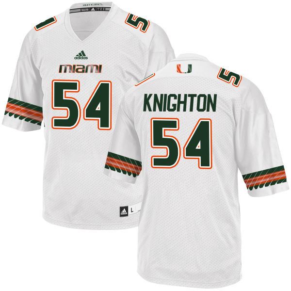 Men's Hunter Knighton Miami Hurricanes Replica White adidas Jersey