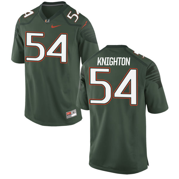 Men's Nike Hunter Knighton Miami Hurricanes Game Green Alternate Jersey