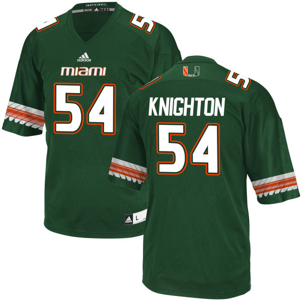 Men's Hunter Knighton Miami Hurricanes Game Green adidas Jersey